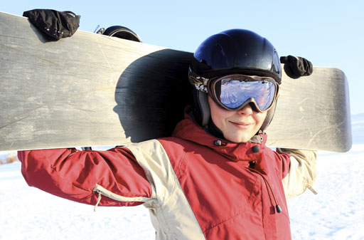snowboarder with goggles on